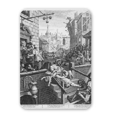 Preisvergleich Produktbild Gin Lane, 1751 (engraving) by William Hogarth - Mousepad - Natürliche Gummimatten bester Qualität - Mouse Mat