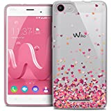Caseink Coque Housse Etui Wiko Jerry [Crystal Gel HD Collection Sweetie Design Heart Flakes - Souple - Ultra Fin - Imprimé en France]