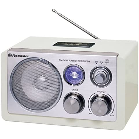 Roadstar HRA-1325US/WH - Radio de diseño retro (Analógico, AM, FM, 1.2 W) blanco