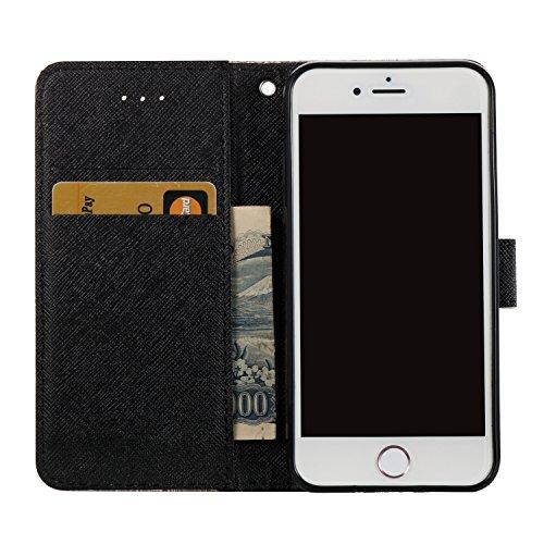 3D iPhone 6 Hülle, PU Leder Hülle für Ledertasche Schutzhülle Case[Stand Feature] Flip Case Cover Etui mit Karte Slots Hülle für Apple iPhone 6 (4.7 Zoll)+Staubstecker (3) 6