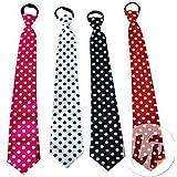 Lot / Set von 3 Stück - schwarze Krawatte mit weißen Tupfen
