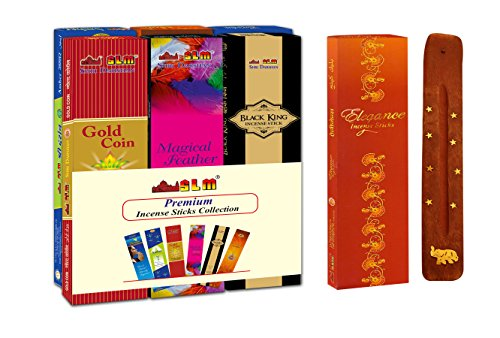 SLM Premium Incense Sticks Collection Gold Coin(Content :12 Packets 184 Sticks + 1 Wooden Incense Stick Holder)  available at amazon for Rs.111