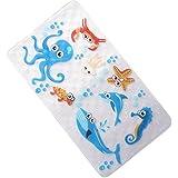 warrah Premium la niños antideslizante alfombra de baño anti deslizante) Novelty–Alfombrillas de ducha para suelo baño bañera alfombrillas para bebés, niños azul animal Pulpo