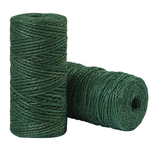 Elcoho 2 Rollos de Cuerda de Yute Verde para jardín, Cuerda Natural para Hornear para jardinería, Envolver Regalos, decoración, Manualidades, 656 pies en Total, Verde