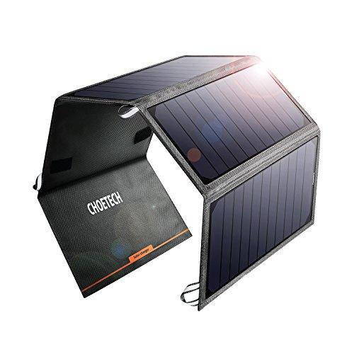 CHOETECH Cargador Solar Portatil, 24W Panel Solar Cargador Charger Portátil Placa Solar Impermeable 2 USB Puertos para Teléfonos Samsung, iPhone, Huawei, iPad, Cámara, Tableta, Altavoz Bluetooth etc.