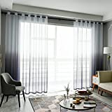 Top Finel Tende Voile Trasparente Occhielli con Gradiente di Colore Decorativi Finestra Balcone casa 140x260cm 2 Pezzi-Grigio
