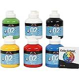 A-Color Acrylfarbe Primärfarben Sortiment Matt 32132 von Creativ Company - Farbschule Sortiment zur Acrylmalerei und für Acrylbilder. 6 x 500 ml.