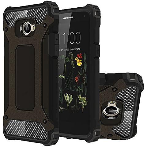 LG K5 Funda, HICASER Híbrida Case [Heavy Duty] Rugged Armor Cover, Dual Layer Shock Resistant Carcasa para LG K5 Negro