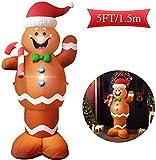 PXDTZ 5Ft LED Aufblasbarer Weihnachten Weihnachtsmann-Lebkuchen-Schneemann Dekoration Weihnachtsdeko Für Weihnachten Für Hausgartendekoration,Europe