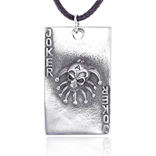 Gothic Halskette mit Totenkopf Joker Anhänger Spielkarte, feinster Zinn Metall Modeschmuck (Playing Card Joker Kostüm)