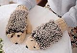 Liroyal Cute Hedgehog Paw Fingerless Faux Fur Gloves Short