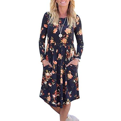 wlgreatsp Frauen Sundress Blumenmuster Rundhalsausschnitt Tasche Abend Sexy Minikleid (Abend-taschen Formale)