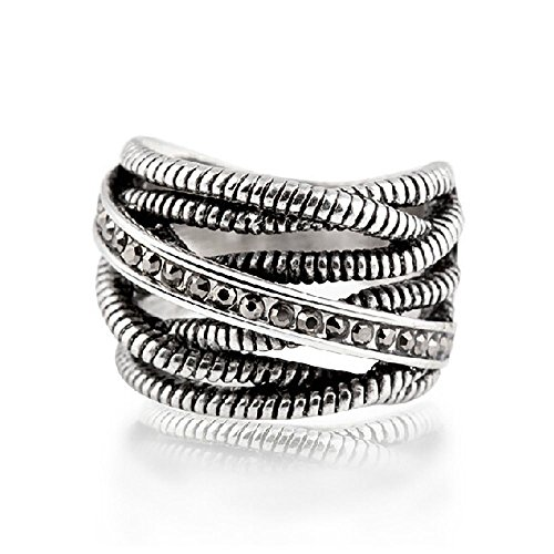 Purposefull Silberring für Frauen - 3mm Oberflächenbreite - Pandora kompatibel - alte Silberfarbe - Größe 8