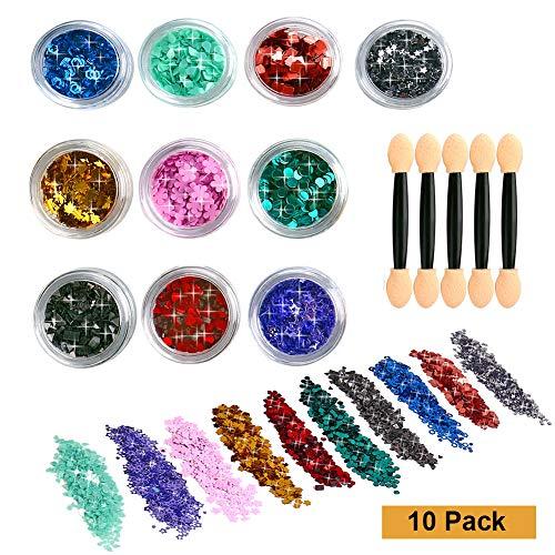 Glitzer Sequin Chunky Glitter 10 Farbe Zehn Muster und 5 bürsten für Gesicht Nägel Make-Up Glitzer Haare und Musik Festival Masquerade Halloween Party Weihnachten
