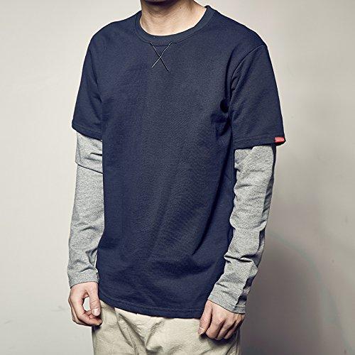 Kd-shirts Für Männer (SANMULYH Die Beiden Kd Spleißen False Langärmeliges T-Shirt Männer Reine Rolli, M, Tibetische Grüne Farbe)