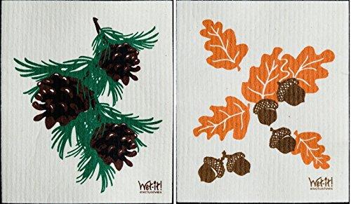 Swedish Treasures Wet es Dishcloths Set 2 (eicheln und Zapfen): Bunt - Geschirrspüler Desinfizieren