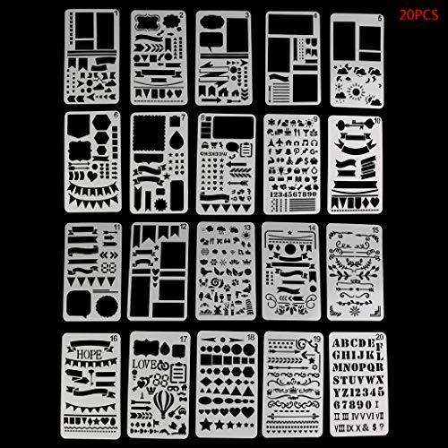 Gwxevce 20 Stücke Kugel Journal Schablone Set Kunststoff Planer DIY Zeichnungsvorlage Tagebuch Decor Craft Schreiben -