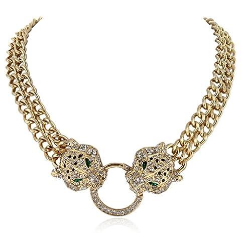 EVER FAITH® Austrian Crystal Leopard Animal Circle Necklace Gold-Tone N02650-1