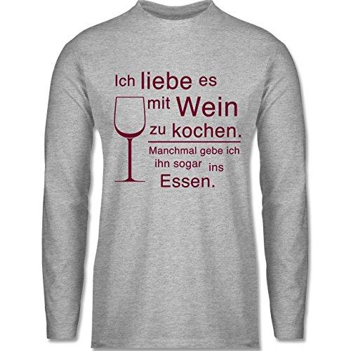 cf0a05b4755dc8 Shirtracer Küche - Ich Liebe ES mit Wein zu Kochen - Herren Langarmshirt  Grau Meliert