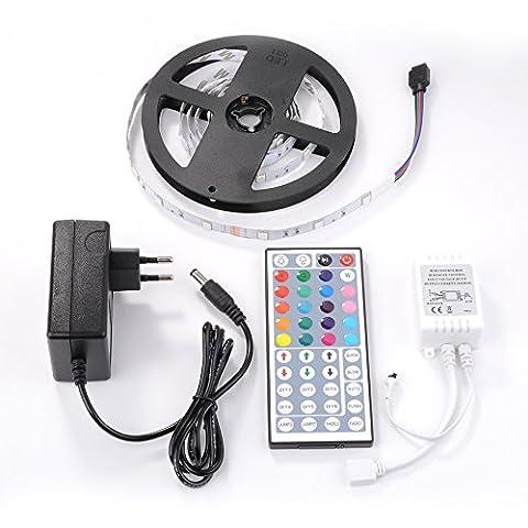 Sunix® 2M 5050 Leds Flexibler LED Streifen, RGB LED Strip lights, Farbwechsel, DIY-Beleuchtung, Nicht Wasserdicht, Inklusive Netzteil und 44 Tasten IR-Fernbedienung, LED Lichtband