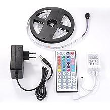 Sunix® 2m Tira LED RGB 60 LEDS 5050 SMD RGB Kit Con Control Remoto IR de 44 botones y fuente de alimentación 12V