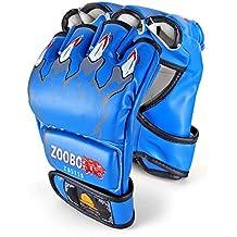 GranVela® Los guantes de boxeo, ZOOBOO Guantes de combate Sports MMA Entrenamiento de Boxeo Tailandés saco de arena La mitad de los mitones del gimnasio de boxeo Sparring vendajes (Azul)