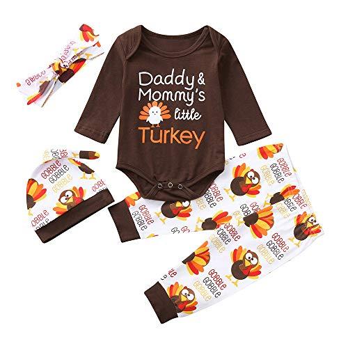 Kobay Infant Baby Jungen Mädchen Brief Türkei Strampler Hosen Thanksgiving Day Outfits Set(18-24M,Braun) (Türkei Ausschnitte Thanksgiving)