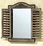 Wandspiegel im Fensterlook, 45,5 x 45 cm, Spiegel, Antik Holzspiegel, Vintage, Landhausstil
