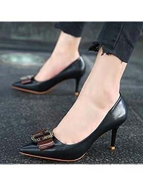 KPHY-La nueva caída de la pajarita punta Boca superficial solo zapatos con tacones finos zapatos de princesa dulce...