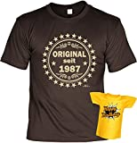 VERI T-Shirt Geschenk Idee Set zum 30 Geburtstag mit Mini Shirt für die Flasche seit 1987 Original Gr. L in braun : )