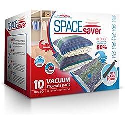 Sacs de rangement sous vide Spacesaver - Lots de 10 sacs de qualité supérieure offant 80% d'espace de stockage supplémentaire Pompe manuelle pour le voyage.