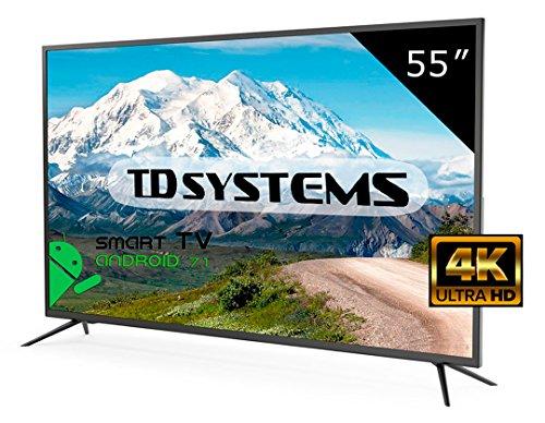 "TD Systems K55DLM8US - 55"" Smart TV UHD 4K (Resolución Ultra HD 4K, 3X HDMI, VGA, USB Reproductor y Grabador, TV Led TDT HD DVB-T2)"