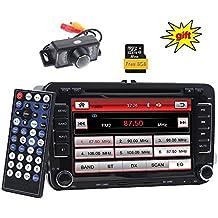 Pantalla táctil digital de coche, doble Din, GPS, estéreo, 7pulgadas, táctil, sistema Wince, coche, reproductor de DVD, para salpicadero, navegación GPS, USB/SD FM AM RDS, unidad central autoradio Bluetooth, para Volkswagen (VW) Golf 5,6,Polo, Jetta, Touran, Eos, Passat CC, Tiguan, Sharan, Scirocco, Caddy + Canbus para control en el volante + cámara de copia de seguridad + tarjeta de mapas de Europa de 8 GB
