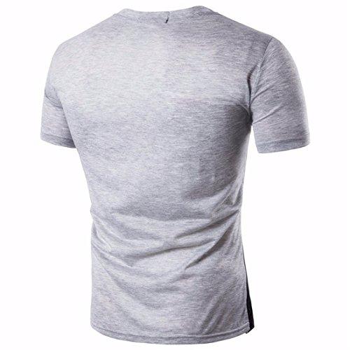 QIYUN.Z Männer Beiläufige Patchwork Kurzschlußhülse Nehmen Passende T-Shirts Ab Hellgrau