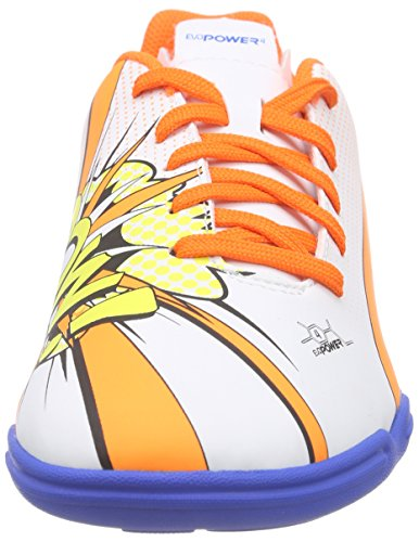 Puma evoPOWER 4.2 POP IT Unisex-Kinder Hallenschuhe Mehrfarbig (white-orange clown fish-electric blue lemonade 01)