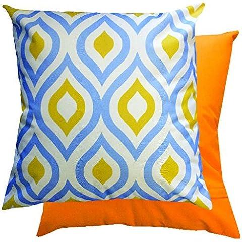 Blue & giallo motivo geometrico impermeabile da esterno con cuscino imbottito per canna/mobili da giardino
