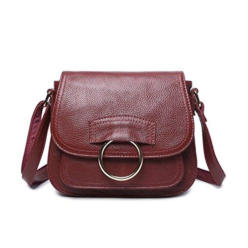 Handtaschen Erste Schicht Rindsleder Mode Damen Tasche Persönlichkeit Einfach Umhängetasche Einkaufen Wild Redwine