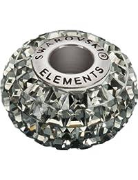 Grand Trou Perles de Verre a enfiler de Swarovski Elements 'BeCharmed Pave' 15.0mm (Black Diamond, Acier affiné), 12 Pièces