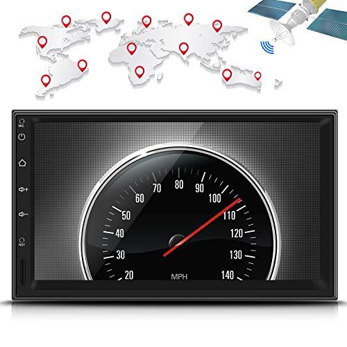Reproductor Multimedia para coche LESHP 7' Pantalla táctil 1024 x 600 HD Android 5.1 Quad Core 1.6GHZ Navegador GPS Radio estéreo doble din Universal para Coche WiFi / 3G / Bluetooth / Soporta 1080P Video/ Control de Volante / FM / USB / SD / AV-OUT / Cámara trasera 170°visión nocturna