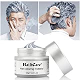 HailiCare 120g Silver Ash Grey Hair Wax, Men Women Professional Hair Pomades, Temporary Hair Color Dye Wax Hair Styling Fluffy Matte Hair Mud Cream for Party, Festival & Cosplay (Upgrade Glass Jar)