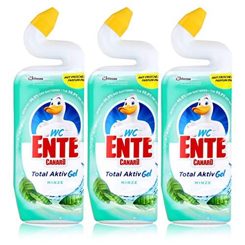 WC Ente Total Aktiv Gel Minze 750ml - Flüssiger WC Reiniger (3er Pack) - Reiniger Minze