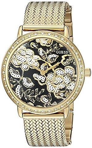 Guess Damen-Armbanduhr u0822l2trendigen Necklaces Halskette mit schwarzem Zifferblatt, die crystal-accented Lünette und Mesh g-link Band