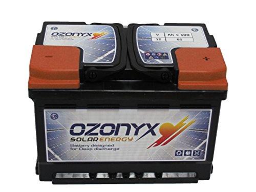 BATERÍA SOLAR OZONYX SOLAR ABIERTA 85AH Voltaje: 12V. Medidas: 278 x 175 x 190 mm. Peso: 18 Kg. Tipo de batería: Solar, Tracción Monoblock. Bajo mantenimiento. Capacidad en C100: 85Ah y en C20: 75Ah. Placa de separación entre celdas reforzadas. Pla...