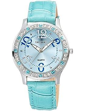 Skone Damenuhr Schmuck Geschenk schöne Uhr für Mädchen Leder Armbanduhren Blau Rosa Rot Weiß Analog Quarzuhr