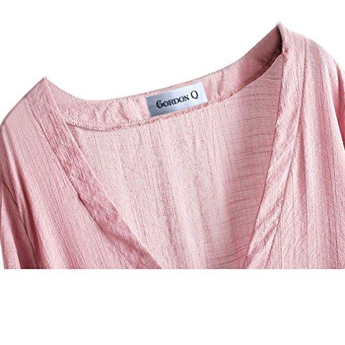 Gordon Q da donna casual lino comfort Plus size lunga camicette Rosa