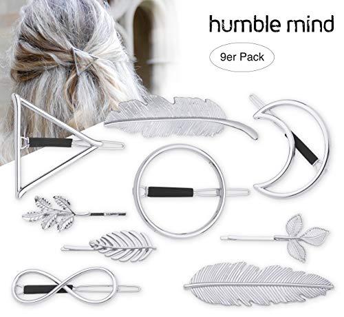 9er Set hochwertige minimalistische Haarspangen von Humble Mind, Haarschmuck - Kreis, Dreieck, Mond, Unendlichkeit, 3x kleine Spangen und 2xFeder in silberner Farbe (silber)