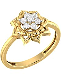 LOLLS Solid 10K Gold 0.07 CT Diamond I1 HI Round Cut Flower Designer Engagement Ring [LOLLS_GUR1136ED_10K]