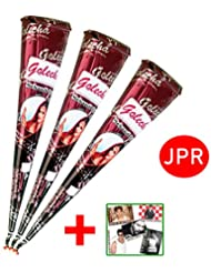 JPR - 3 pcs. 100% Natural Mehndi Cones, No Mix, Halal Veg, Clinically Tested & Certified - For Temporary Bodyart Tattoo Design (Big Cone) 75g + SRK Postcard