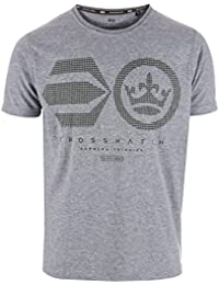 Crosshatch Mens Crisscross T-Shirt In Grey MARL- Short Sleeve- Ribbed Collar-