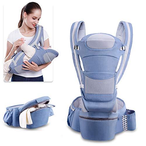 PFLife Babytrage mit Hüftsitz - Babybauchtragen/Babyrückentragen - Neugeborene und Kleinkinder - Atmungsaktiv und Ergonomische Trage von 3.5Kg bis 25Kg, 12 Tragepositionen (Hellblau)